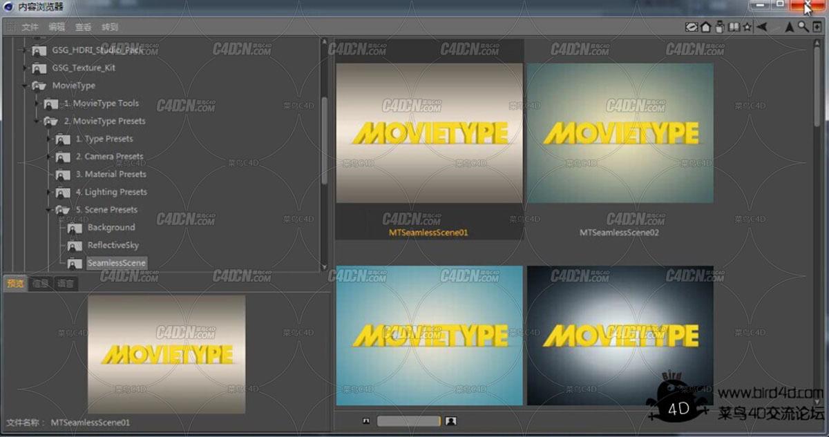 C4D预设 MovieType 文字预设
