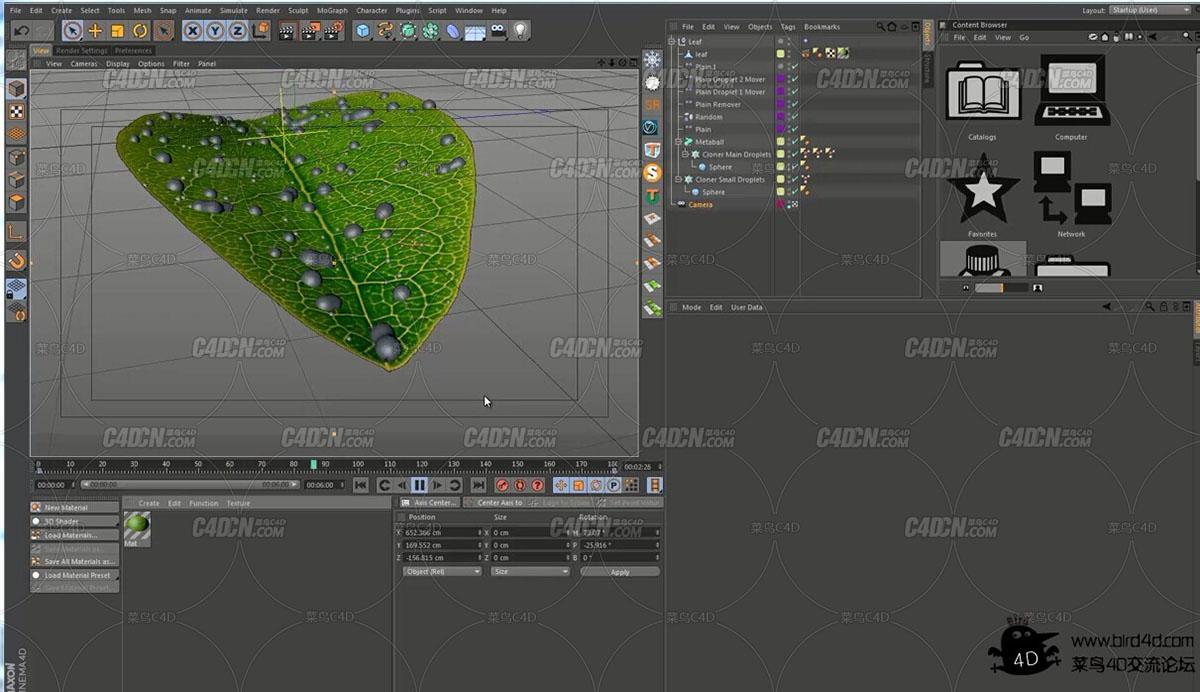 【高级教程】C4D+AE 物理渲染器+动力学柔体创建写实水珠树叶教程