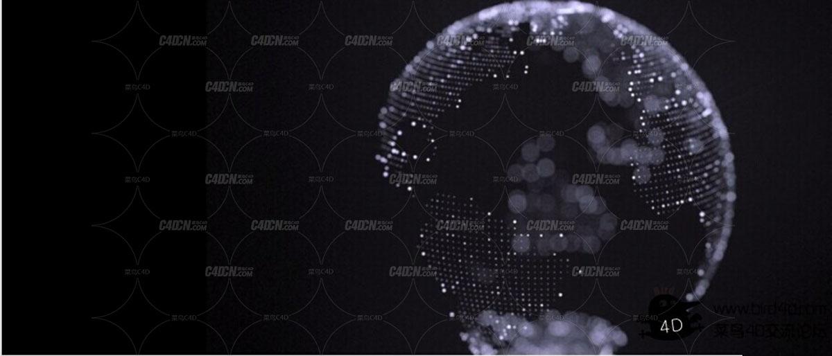 【推荐】C4D粒子矩阵创建一个科幻包装风格地球