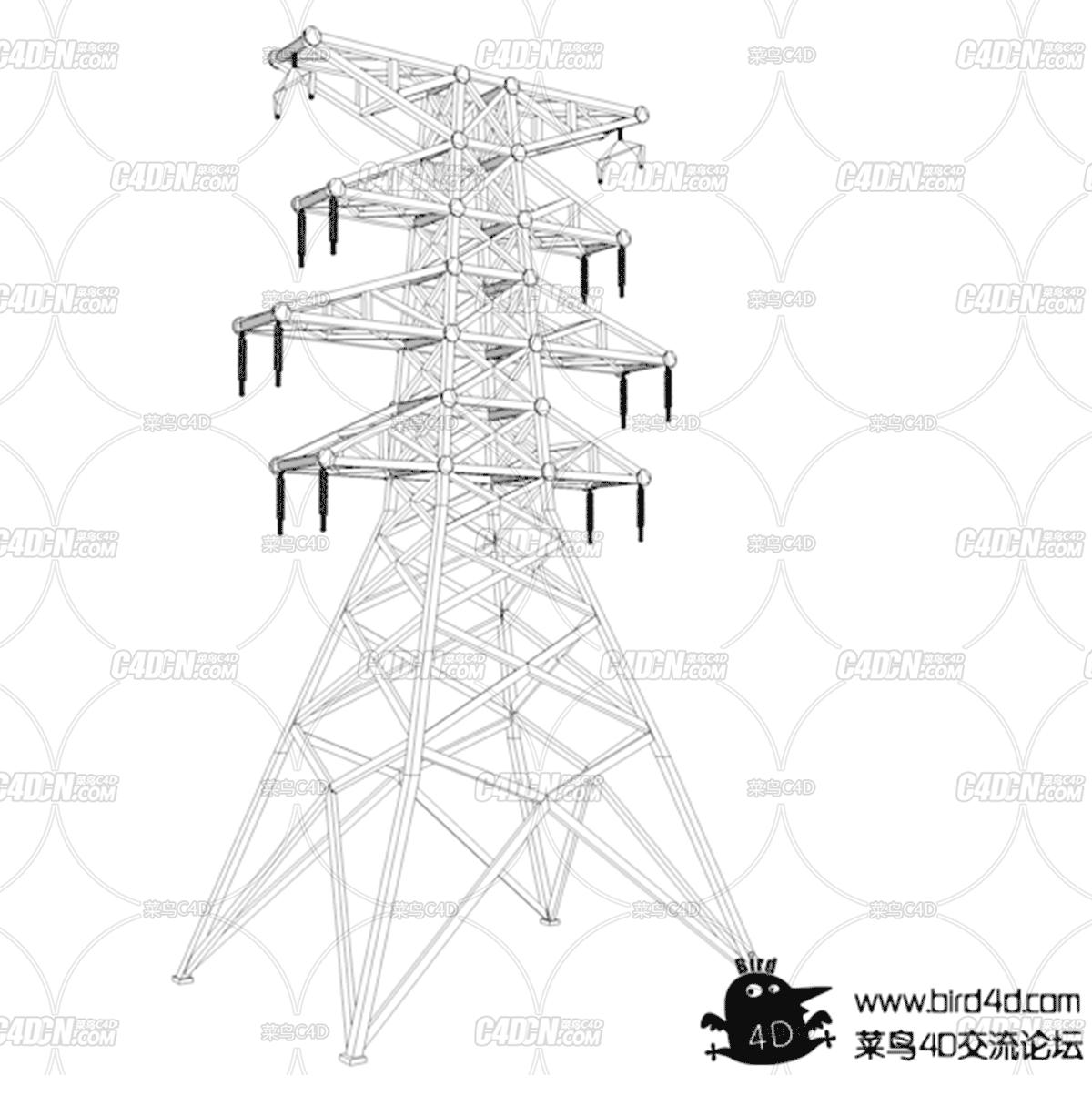 C4D电网铁塔模型