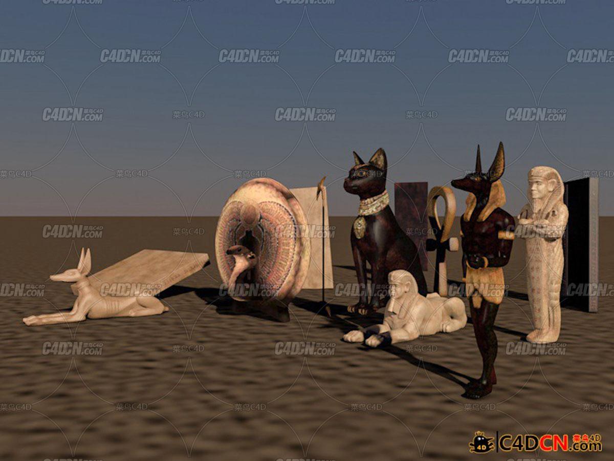 C4D格式埃及法老王狮身人面像埃及护法等模型含材质