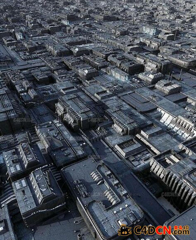城市交通道路3D模型C4D模型,Greeble City Blocks VOL 01 (Conve)