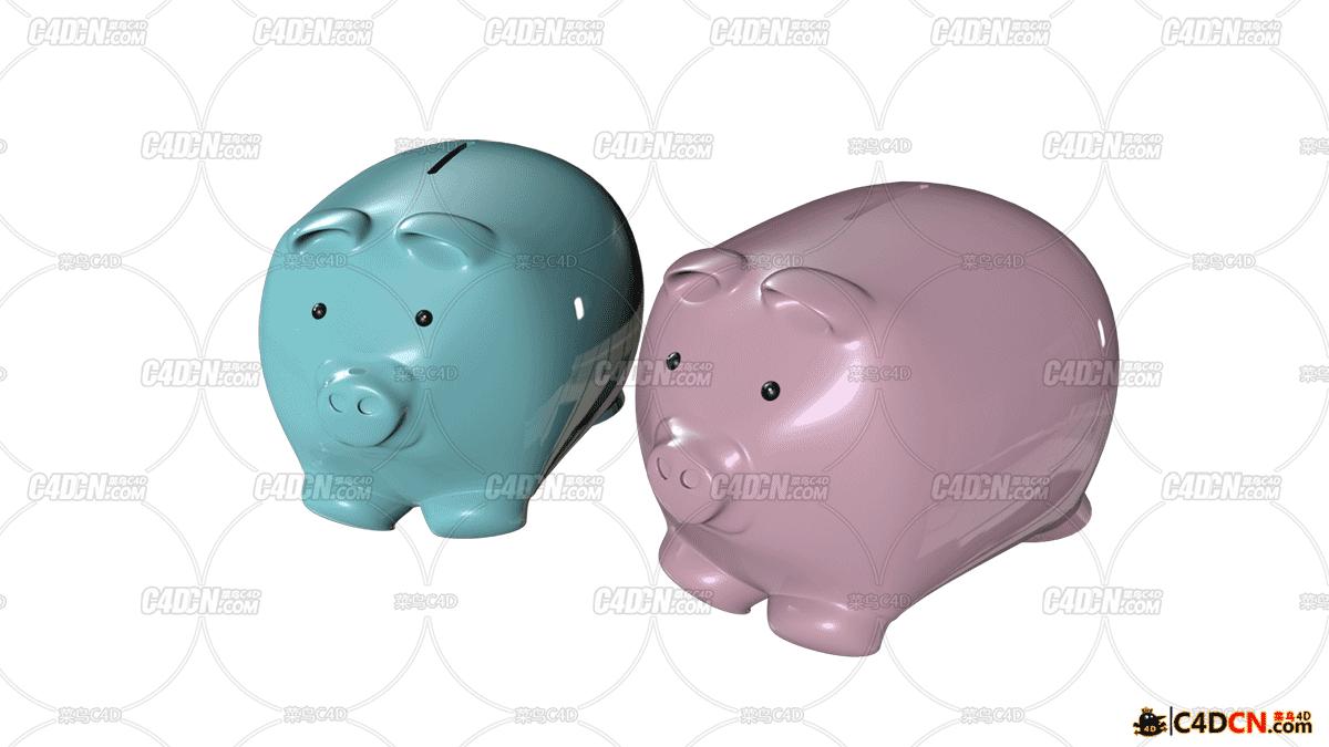 C4D 小猪存钱罐模型