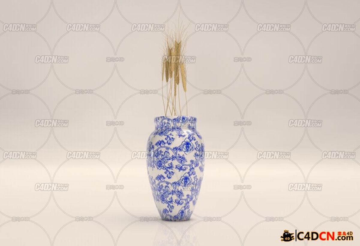 青花瓷瓶和麦穗模型