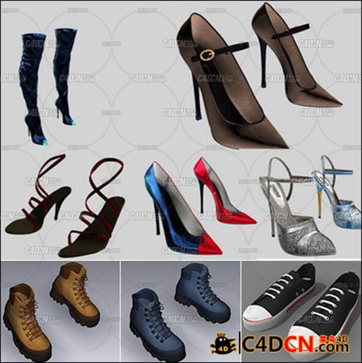 一组6套11双鞋子的模型