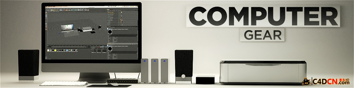 C4D苹果电脑桌电脑设备模型打印机模型Computer-Gear