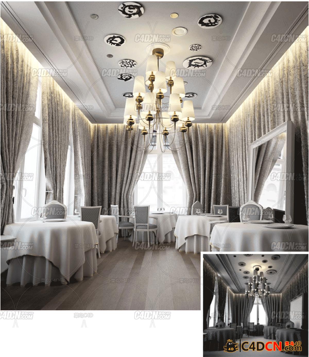 C4D餐厅室内工程
