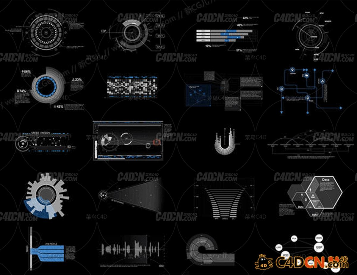 20组未来科技范十足的全息元素动画素材AE模板