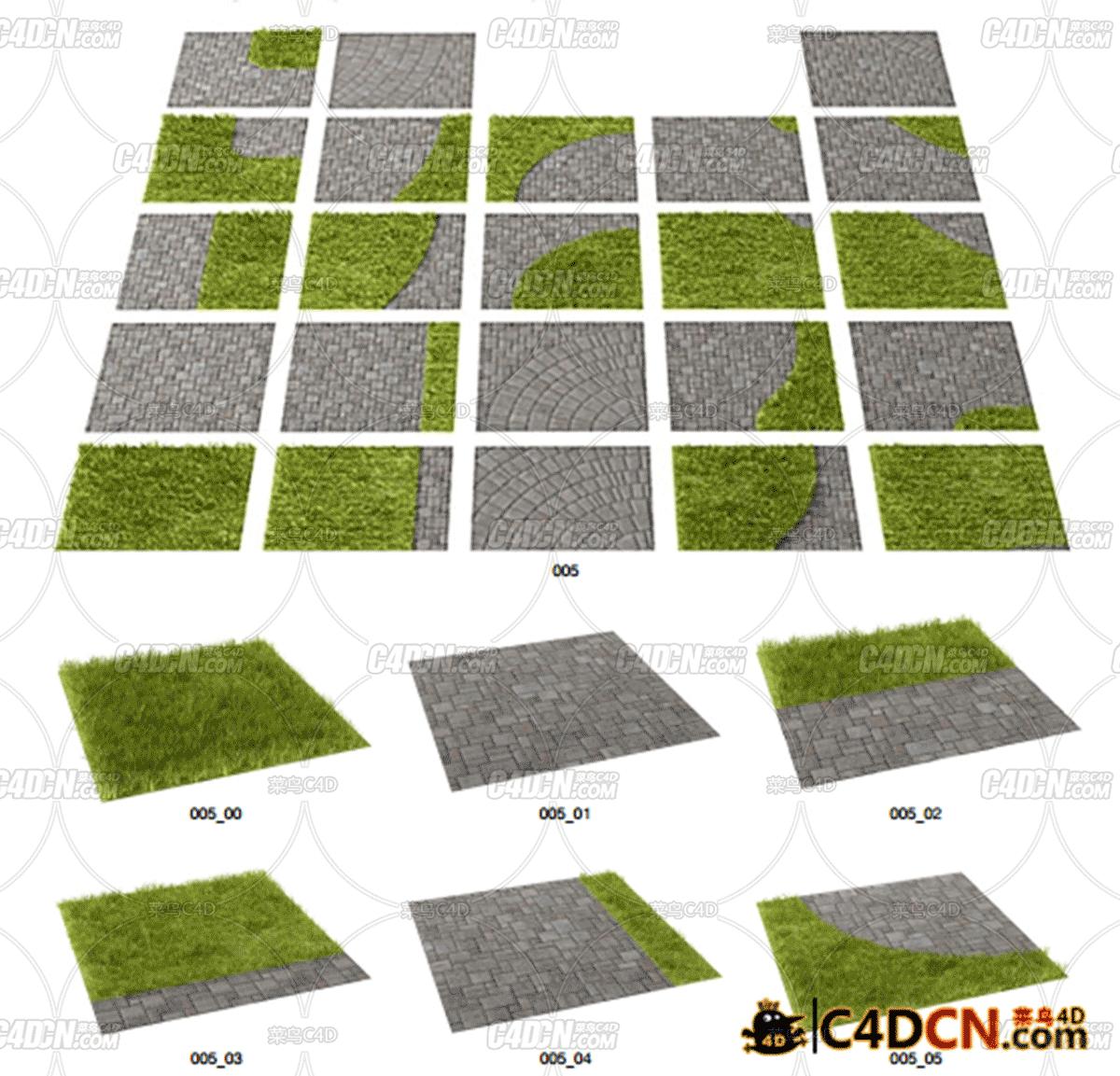C4D草地 石铺路 台阶模型合集C4D ArchModels Vol 63