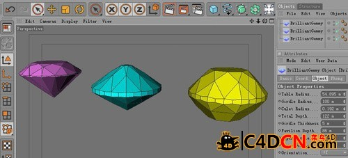 C4D钻石生成器插件汉化版Brilliant Gemmy V 1.0
