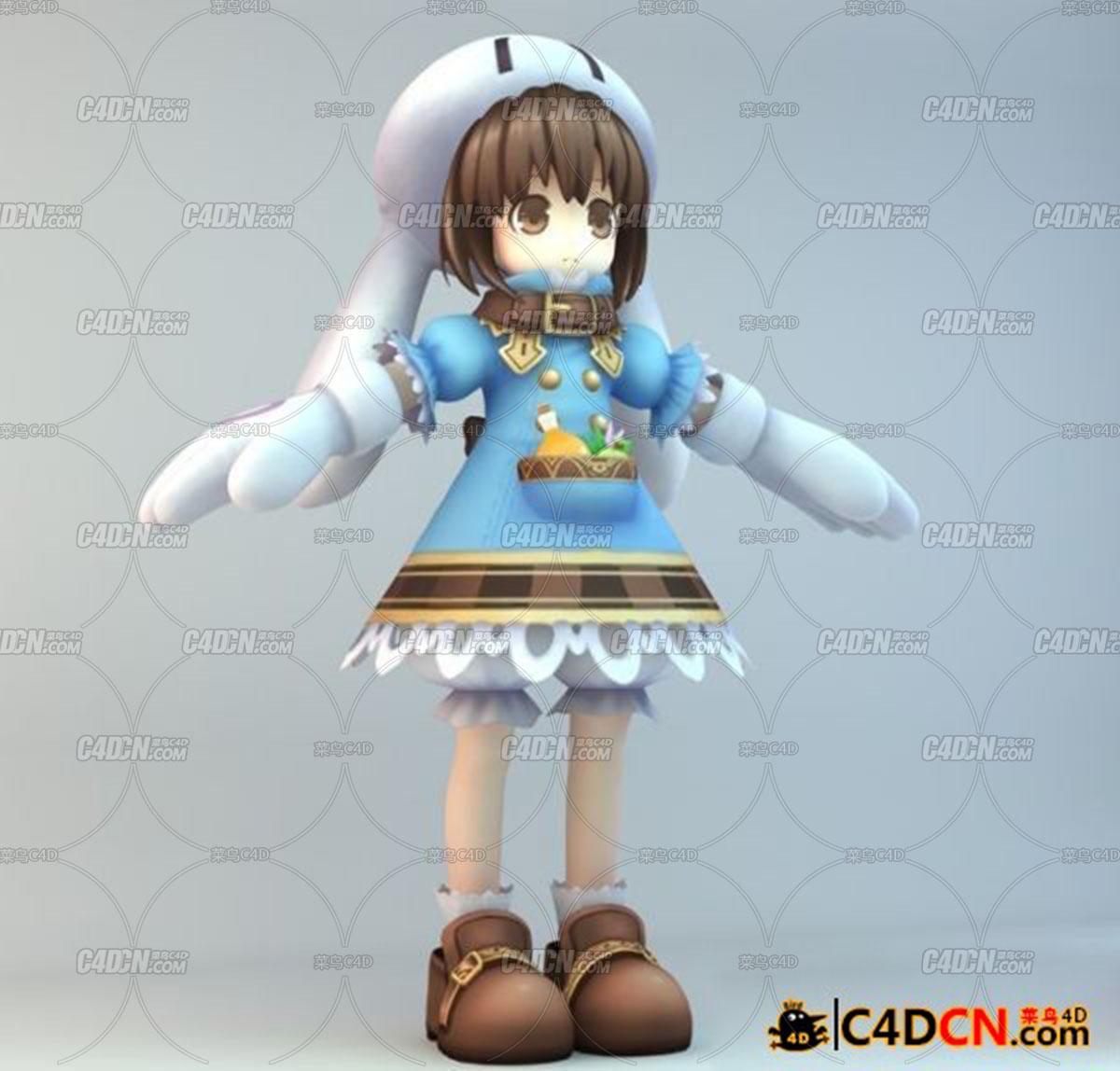 C4D含绑定萝莉模型一只