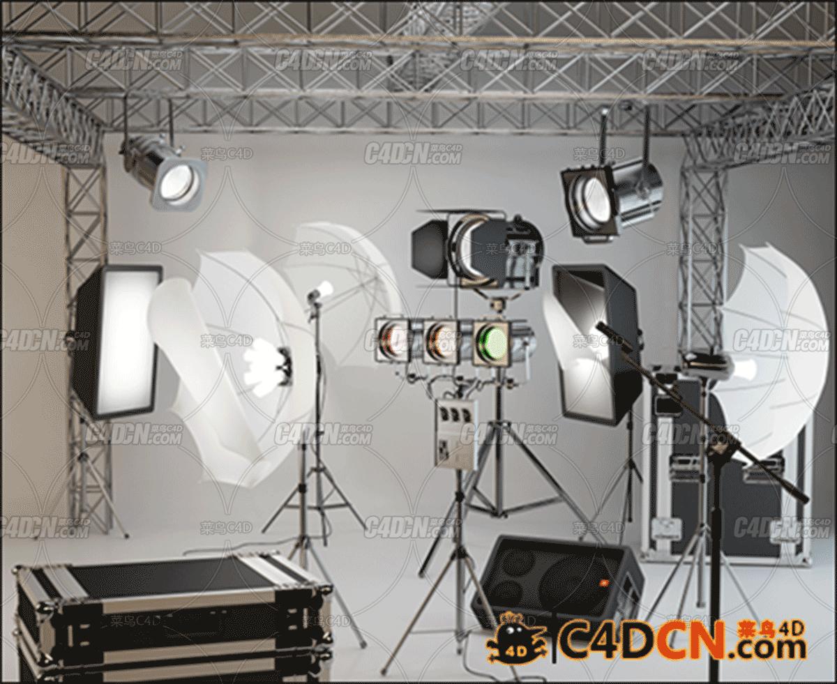 摄影工作室的专业照明灯具模型