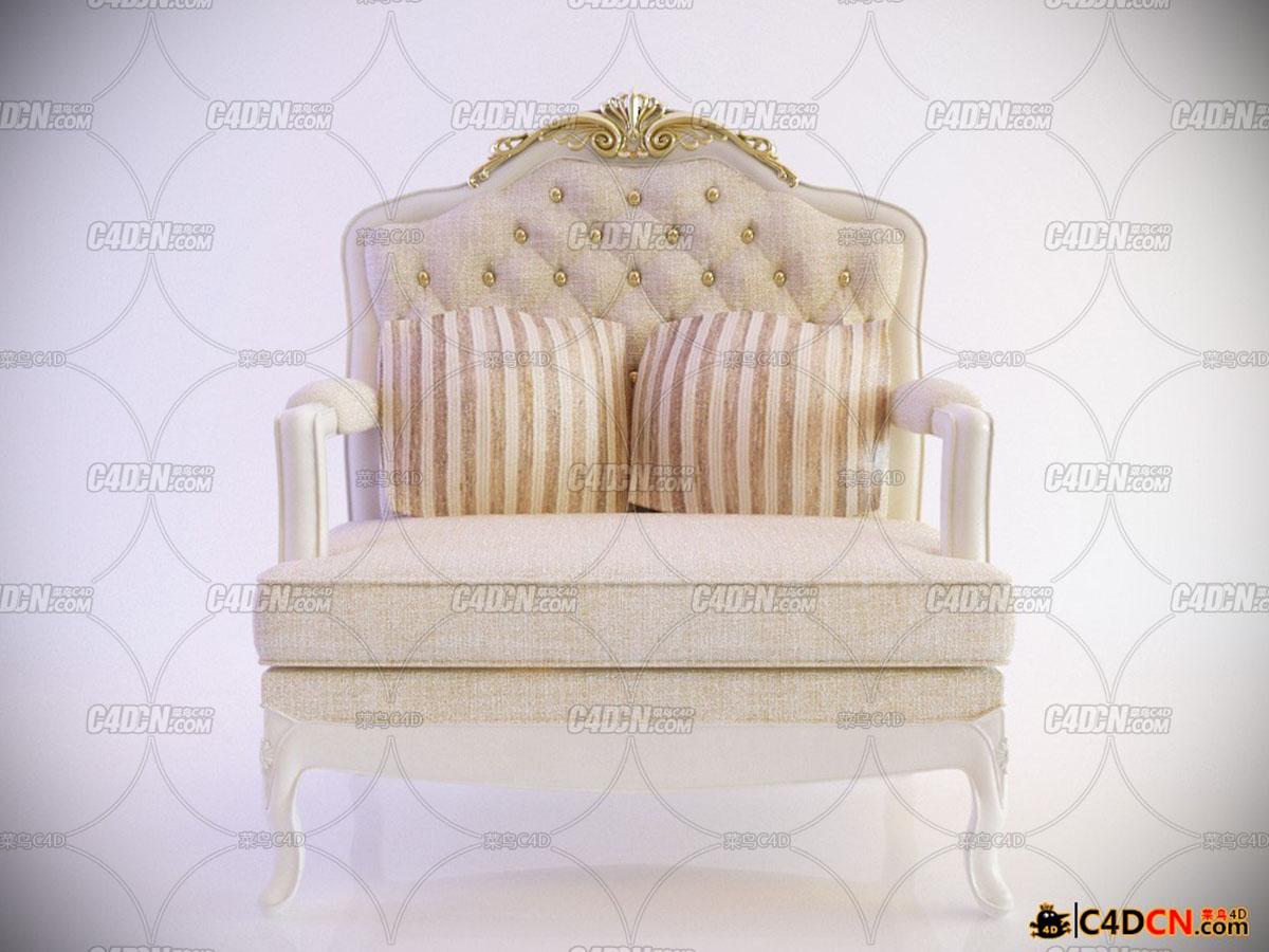 白色經典沙發椅Armchair White classic