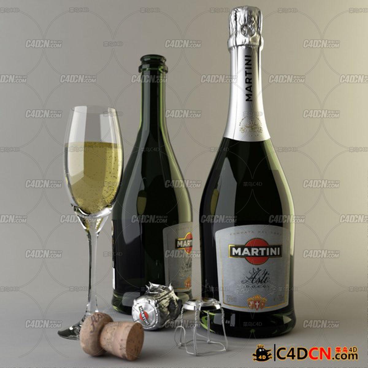 马蒂尼-阿斯蒂红酒酒瓶酒杯模型TurboSquid - Martini Asti