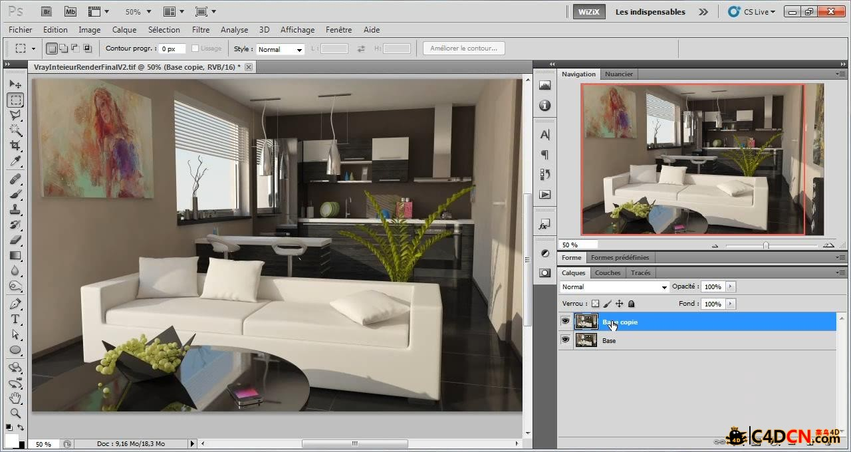 C4D vray室内教程Tuto.com - Rendu dintérieur avec Vray - Vray for C4D