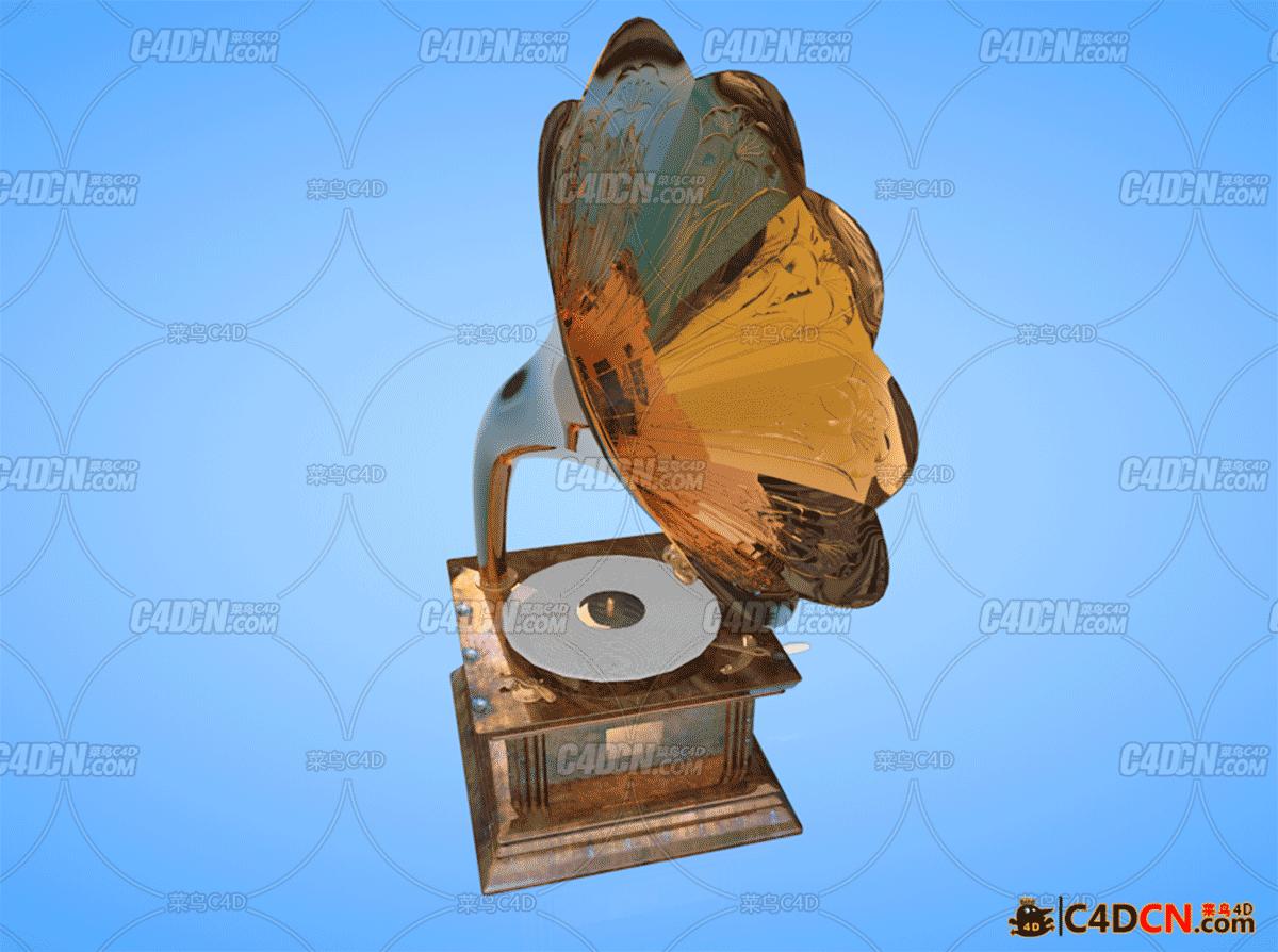 老唱片留声机模型