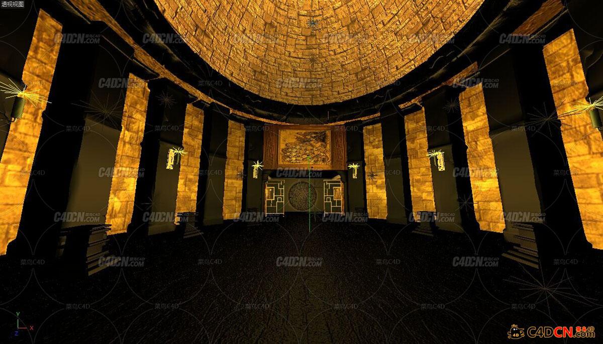 古埃及金字塔神秘室内场景
