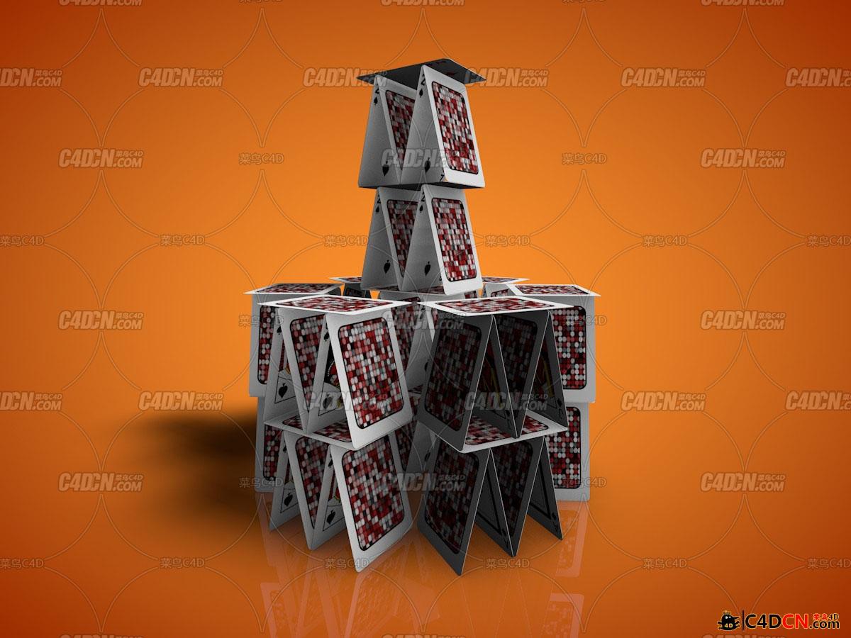 C4D可控多参数扑克牌摆列预设汉化版 C4D预设