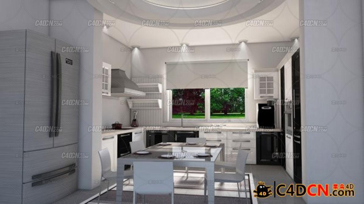 明亮的厨房场景源文件Interior Kitchen Scene