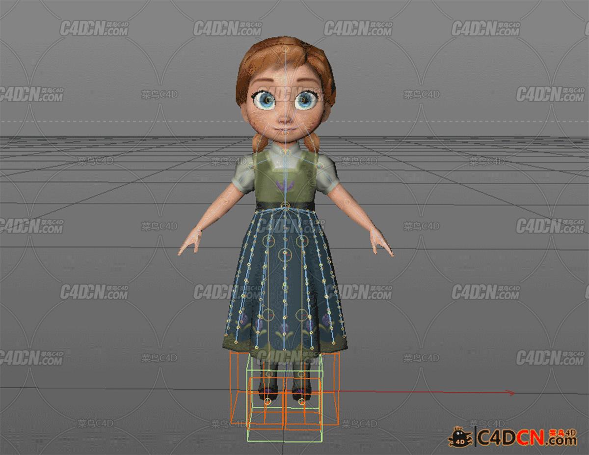 小女孩少年安娜模型含绑定Anna Young Rig