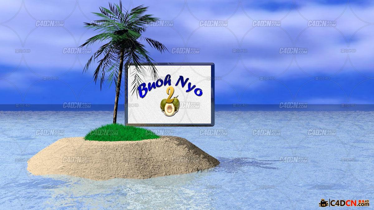 大海孤岛椰子树模型pulau