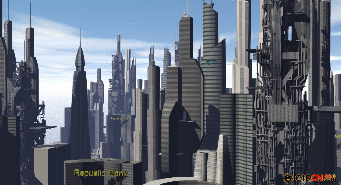 C4D超級城市模型Sci-Fi Downtown City 3d model2