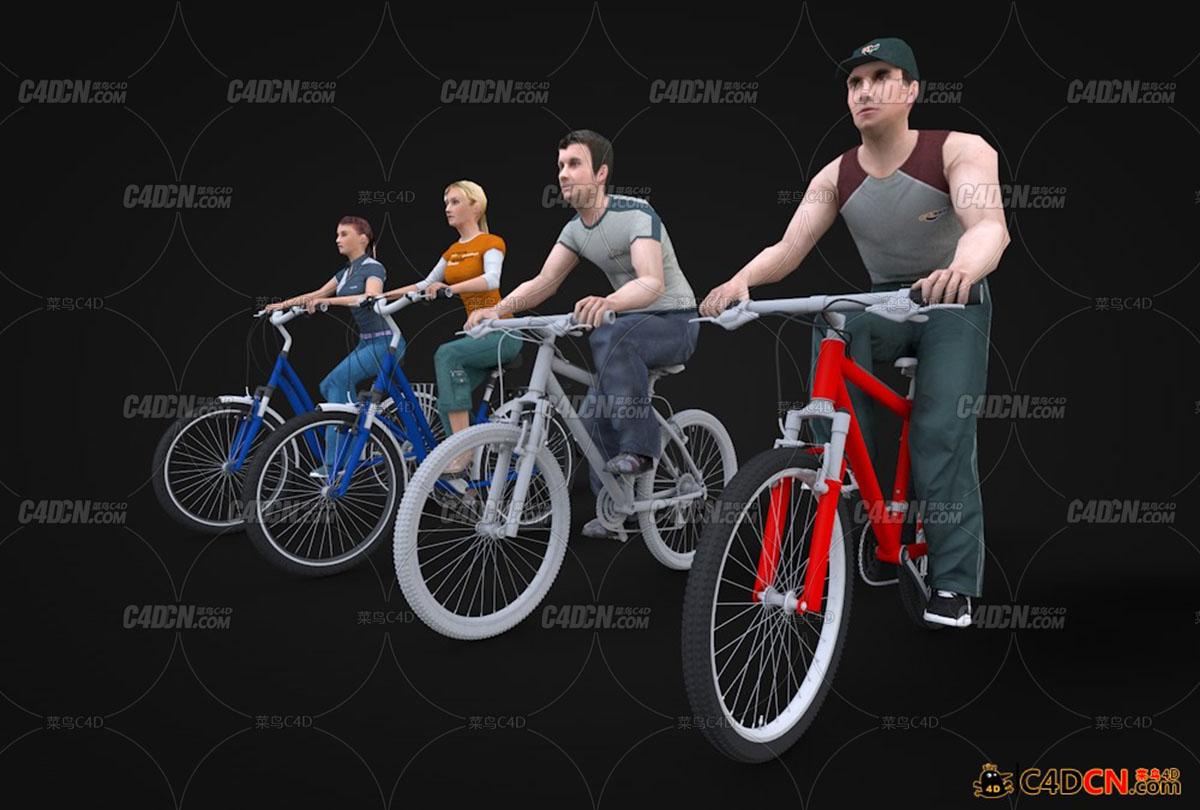 4个骑自行车的人模型