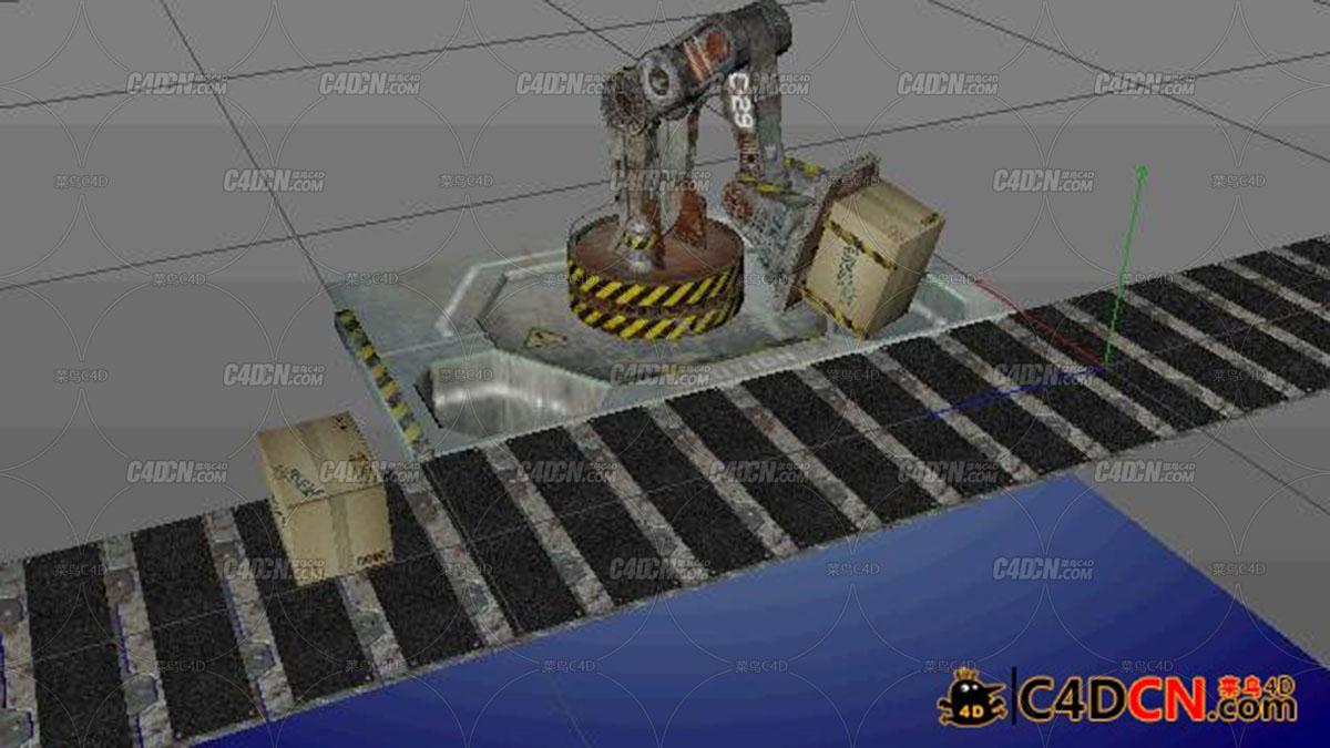 C4D机械手臂搬运货物传送带动画工程C4D-Robot-And-Boxes-Models