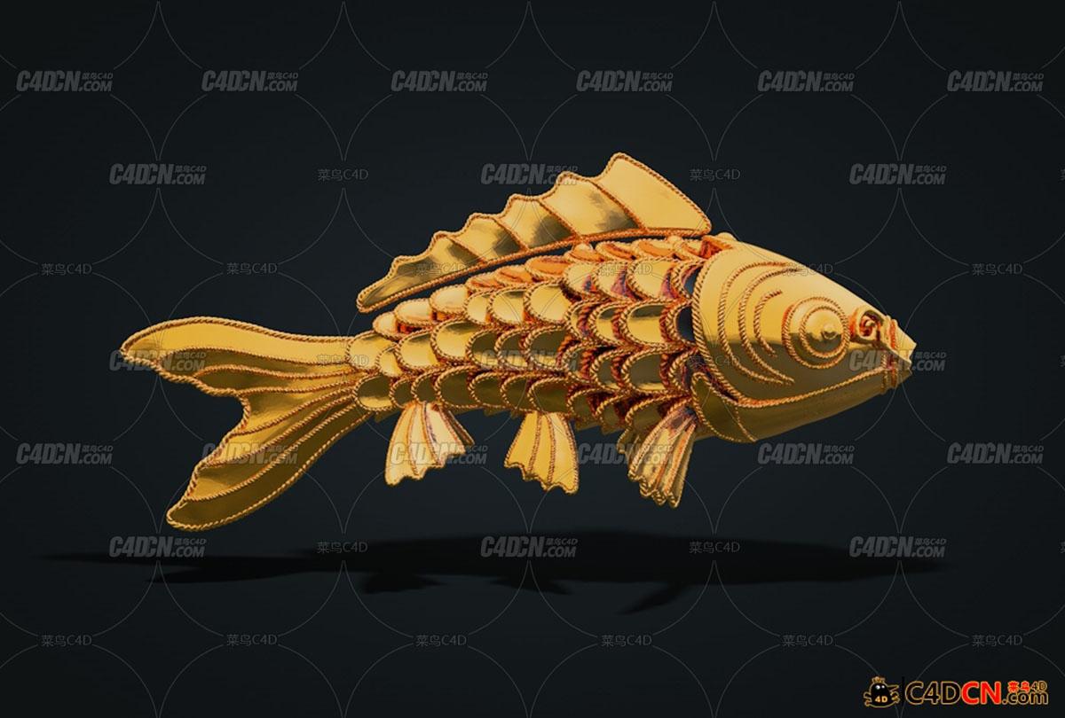 打印机锦鲤鱼工艺品模型