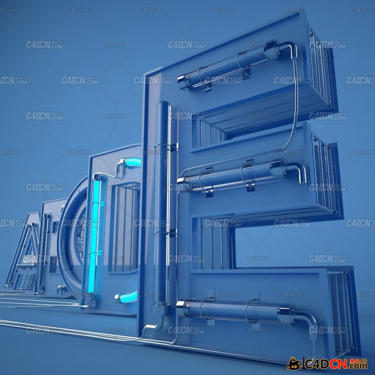 C4D预设 26个英文字母霓虹灯文字模型预设