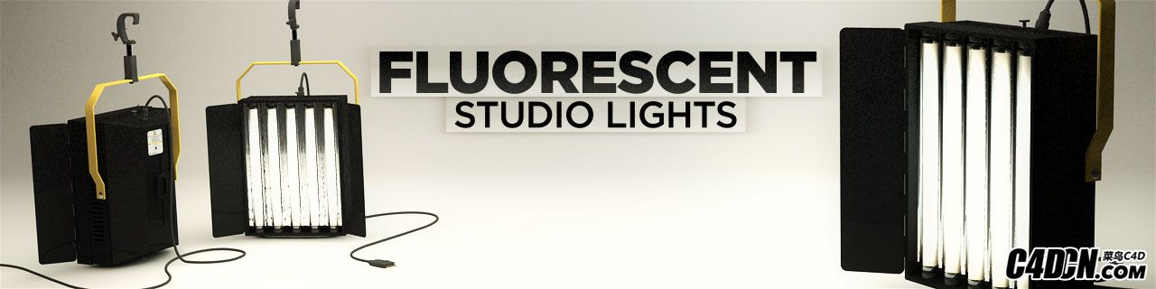 C4D摄像棚荧光灯模型 Flourescent Studio Lights