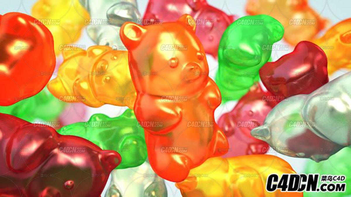 C4D橡皮糖胶糖半透明材质教程