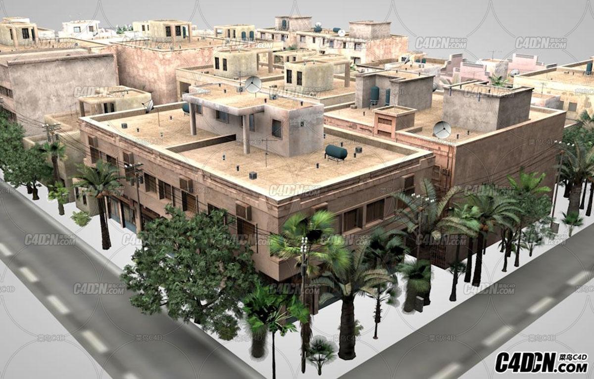 C4D热带气候城市建筑群模型02