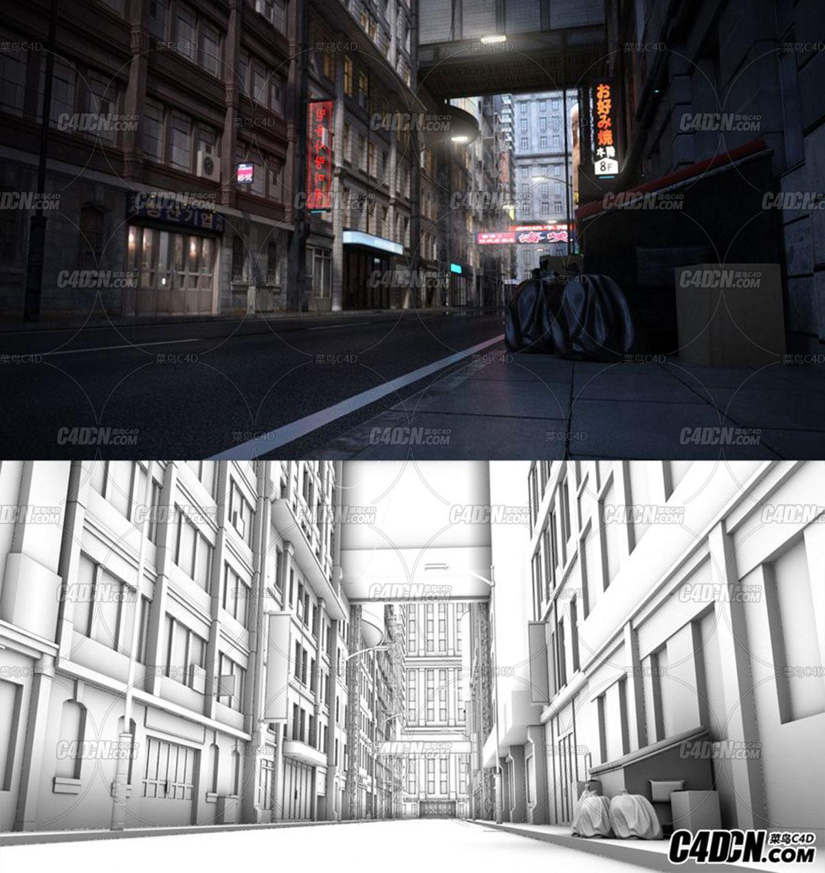 朋克的夜晚城市模型,daz3d和fbx格式