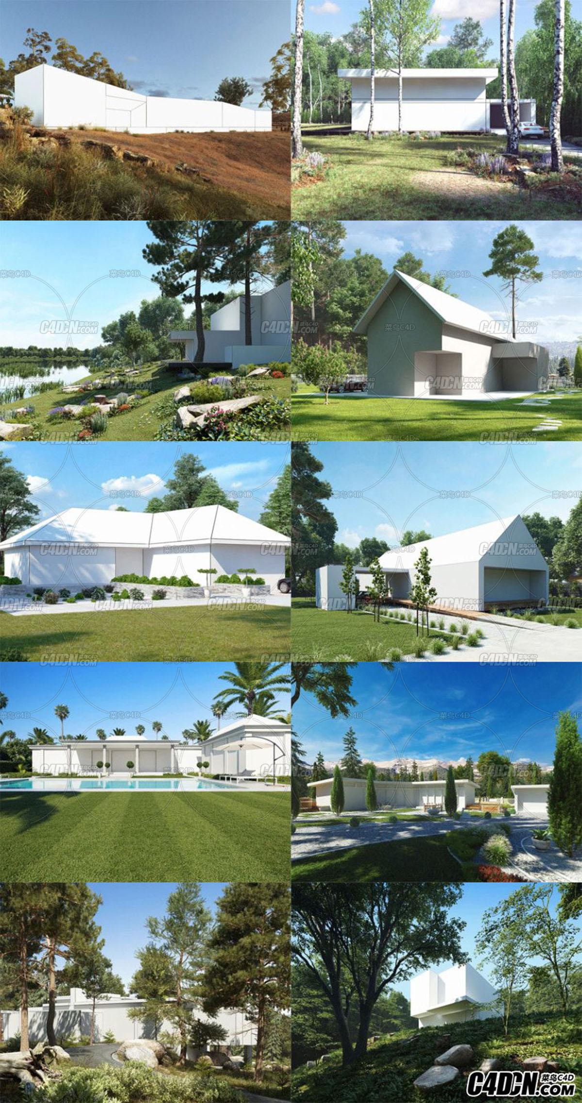 10套高档别墅,景观建筑场景模板集合
