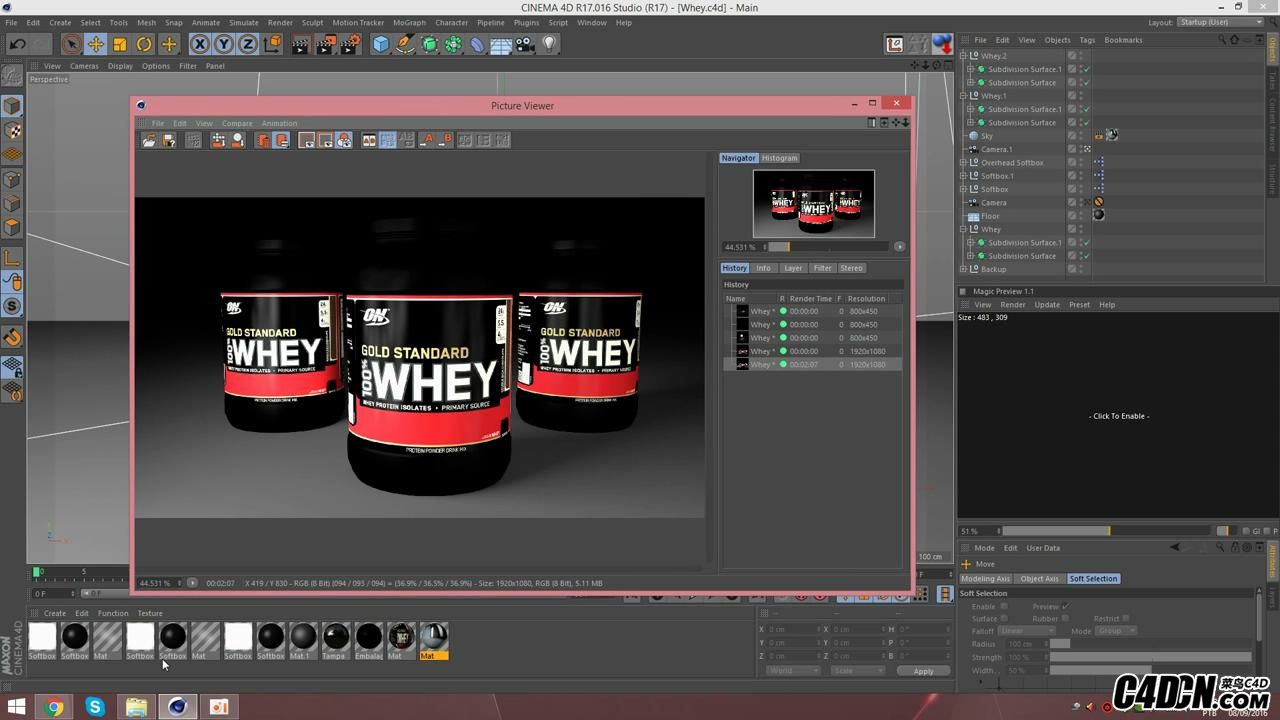 [Cinema 4D] Whey Protein   Physical Render_20160928220936.JPG