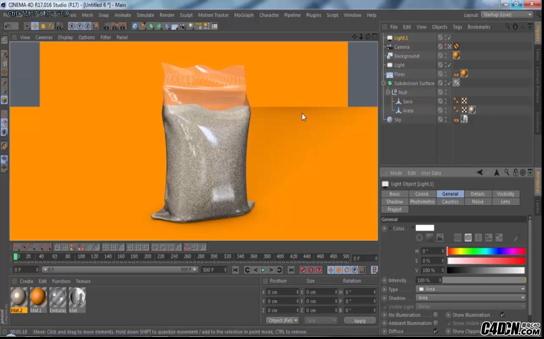 CINEMA 4D   沙子与包装袋建模与渲染教程