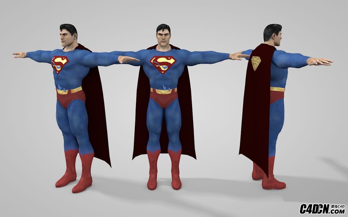 C4D超人模型含绑定 Superman 3d model