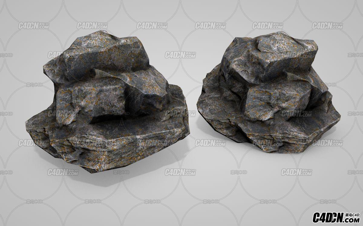 C4D逼真写实石头石块岩石模型