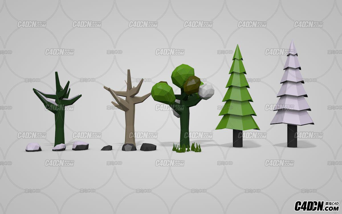 C4D低面模树 松树 石头 树干 花草模型