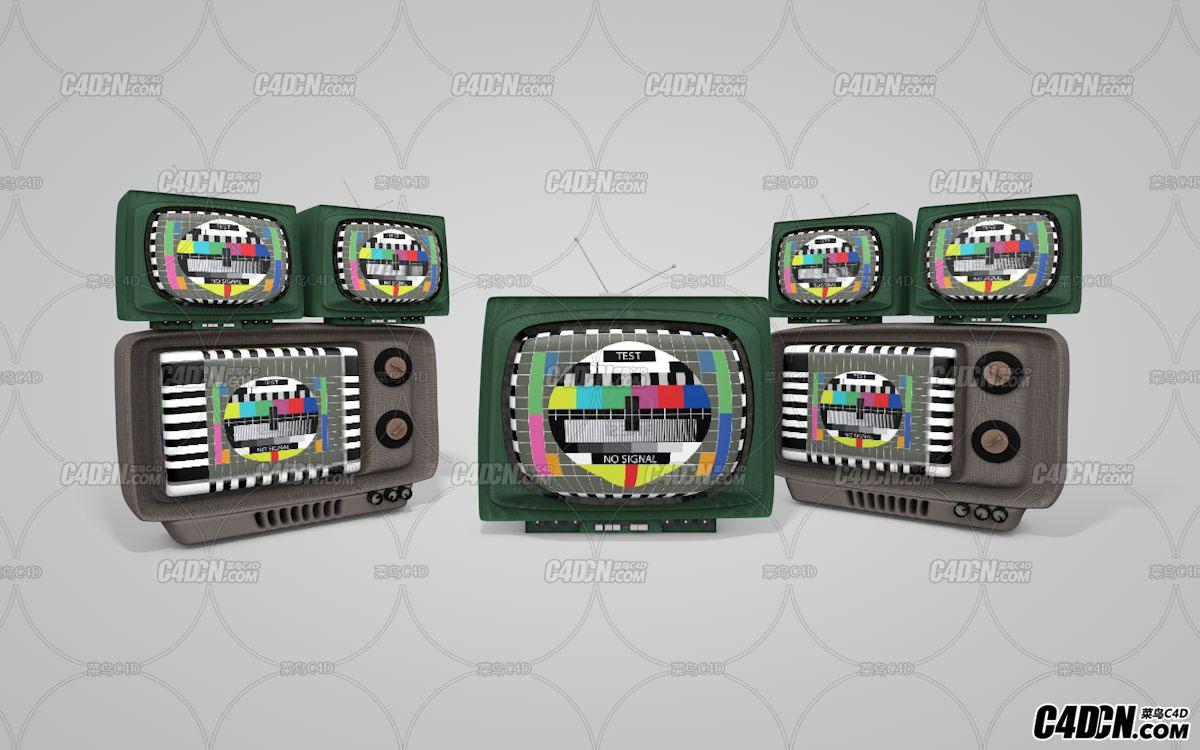 C4D怀旧复古老式电视机模型
