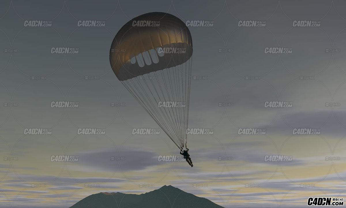 C4D破旧的降落伞和士兵跳伞工程含动画