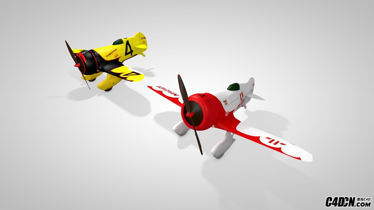 C4D卡通滑翔机模型