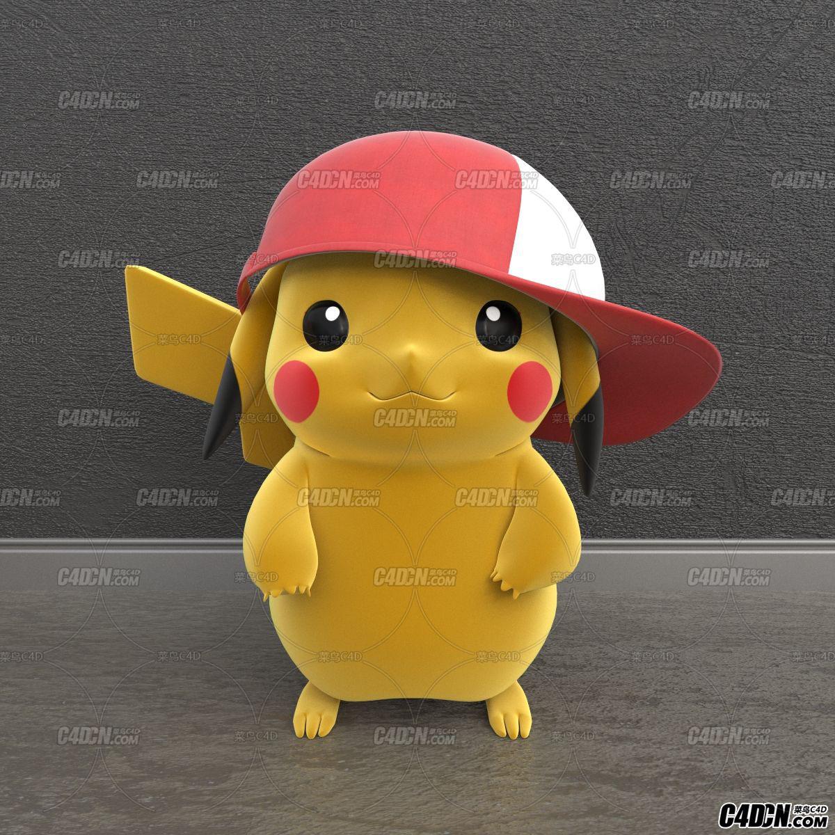 C4D戴帽子的皮卡丘卡通宠物小精灵模型