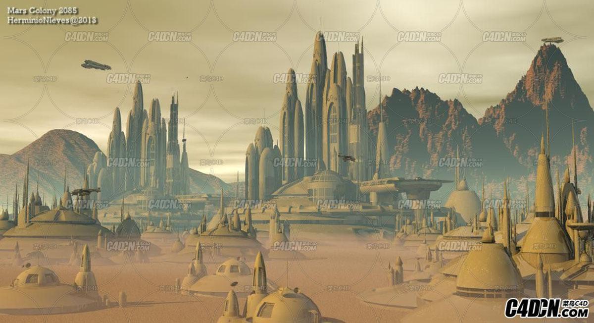 C4D科幻模型 未来城市