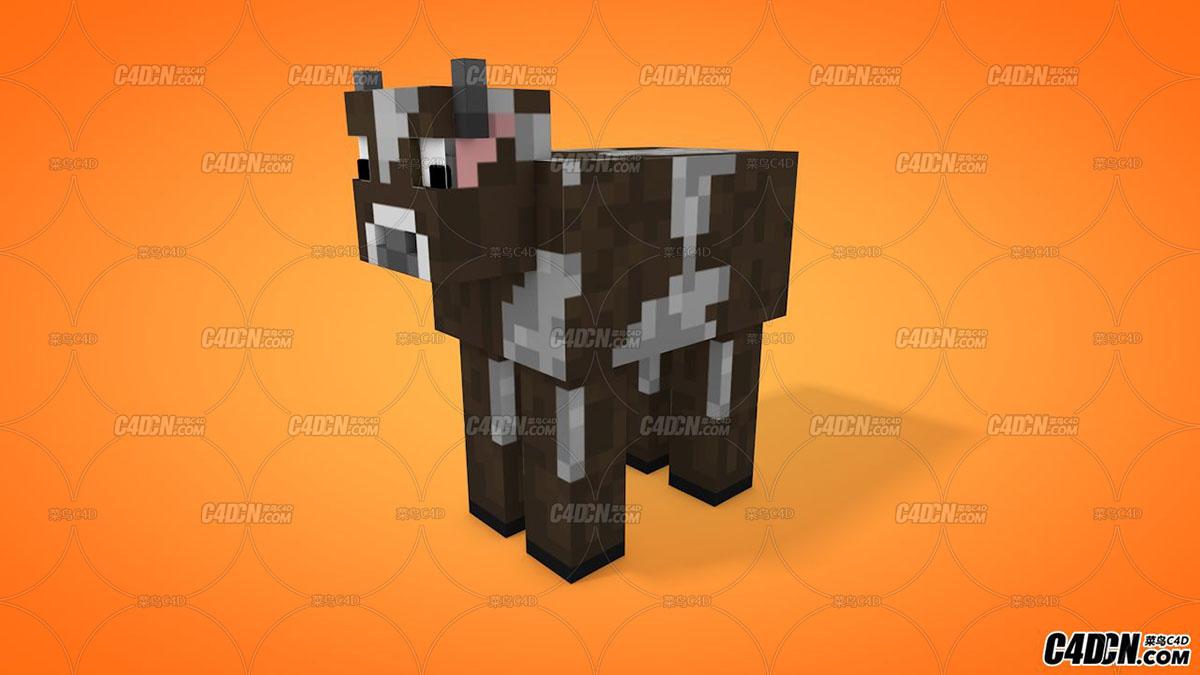 我的世界奶牛 C4D模型