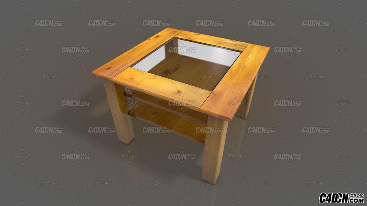 实木方桌麻将桌 C4D模型