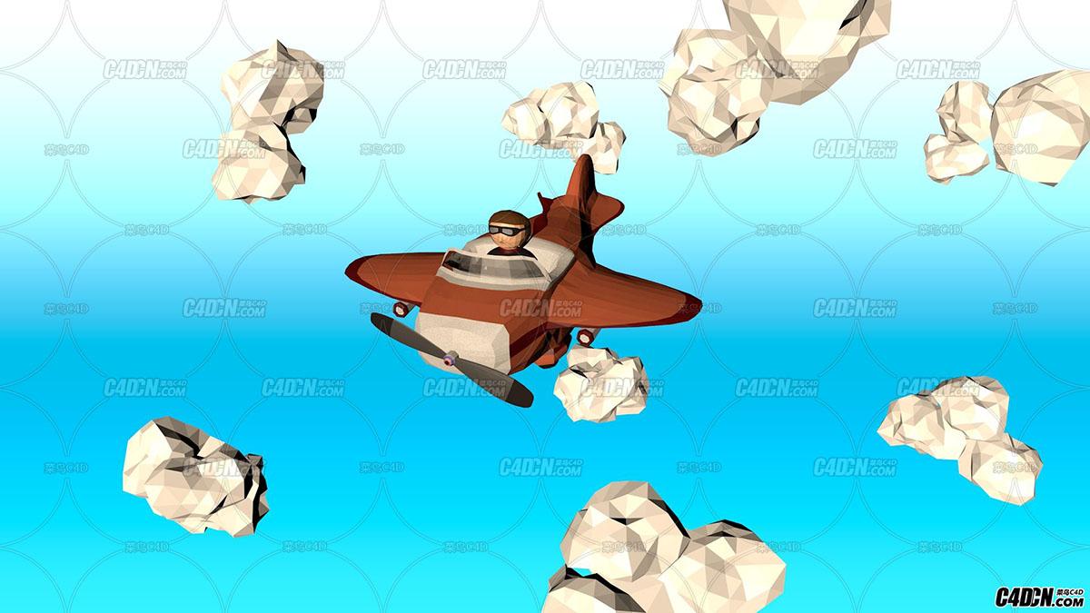 C4D低面模飞机飞过动画场景 Low Poly Plane