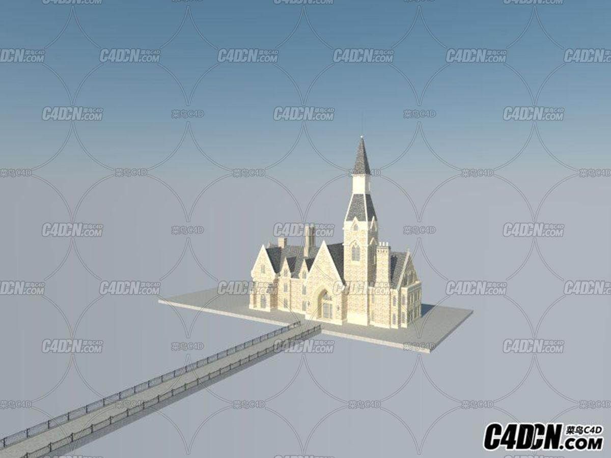 C4D欧式教堂模型