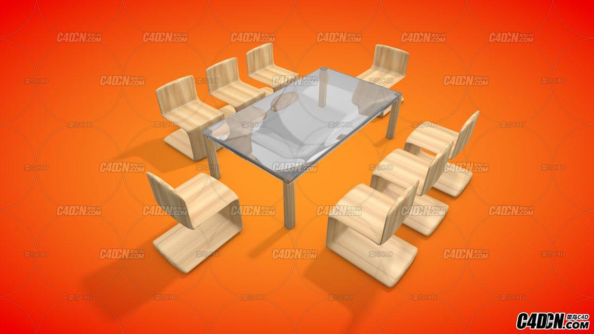 C4D 玻璃桌子椅子家居模型